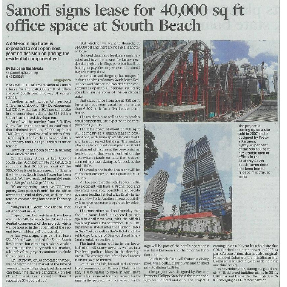 Sanofi signs lease for 40,000 sq ft office space at South Beach
