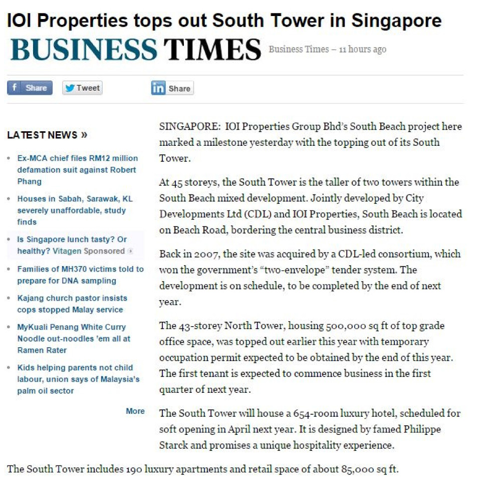 Business Times - IOI Properties tops out South Tower in Singapore